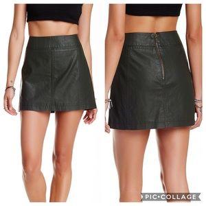 Free People Black Faux Leather Mini Skirt Sz S